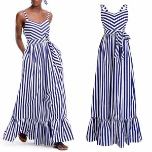 NEW J.CREW Stripe Ruffle TIER Cotton Maxi DRESS 14